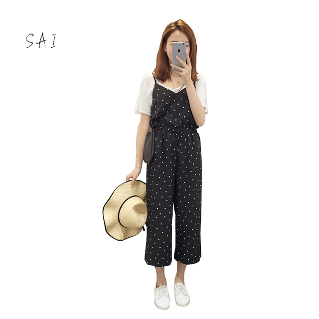 110e6d0684f Women Jumpsuits Casual Dot Loose V-neck Strapless Women Jumpsuit Polyester  Black Backless Korean Style Comfortable Jumpsuits