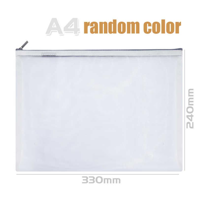 Deli 2019 New A4/A5 1pcs Grid Transparent Document Bag PVC plastic Zipper Pouch Filing Products Bag Stationery Office Supplies