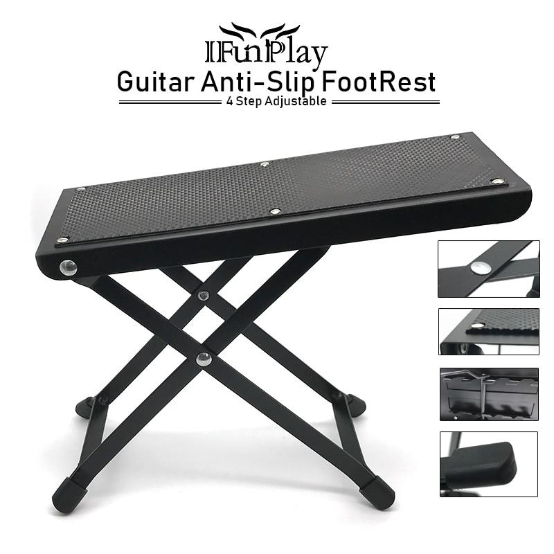 guitar foot rest folding metal guitar foot rest stage anti slip stand 4 adjustable height levels. Black Bedroom Furniture Sets. Home Design Ideas