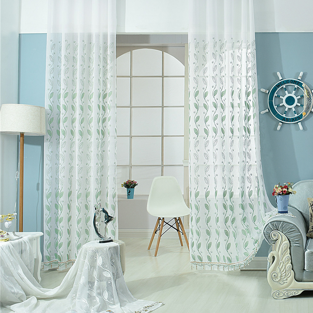 hojas onduladas bordados voile ventana panel de muro cortina para sala de estar con puertas correderas