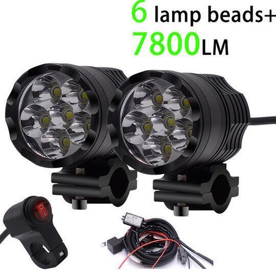 WUPP 2 pcs Universel 6 Puces LED Moto phares Motos Ampoule Moto Étanche Brouillard Spot 7800 LM Projecteur Super Lumineux