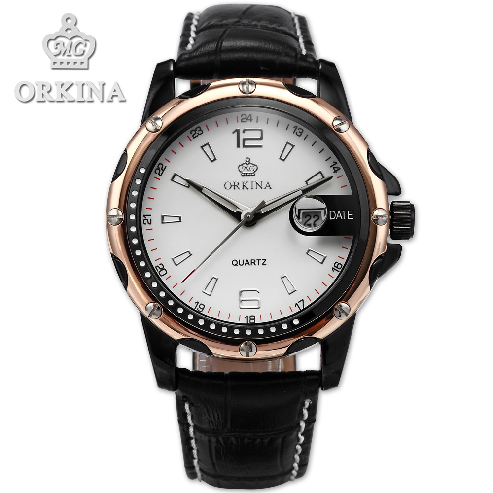 Orkina Brand Black Leather Band Relogio Masculino 2016 New Clock Men Elegant Armbanduhr Herrenuhr Quarz\ Uhr Cool Horloges orkina relojes 2016 new clock men luxury masterpiece elegant date display black leather band wrist watch cool horloges mannen