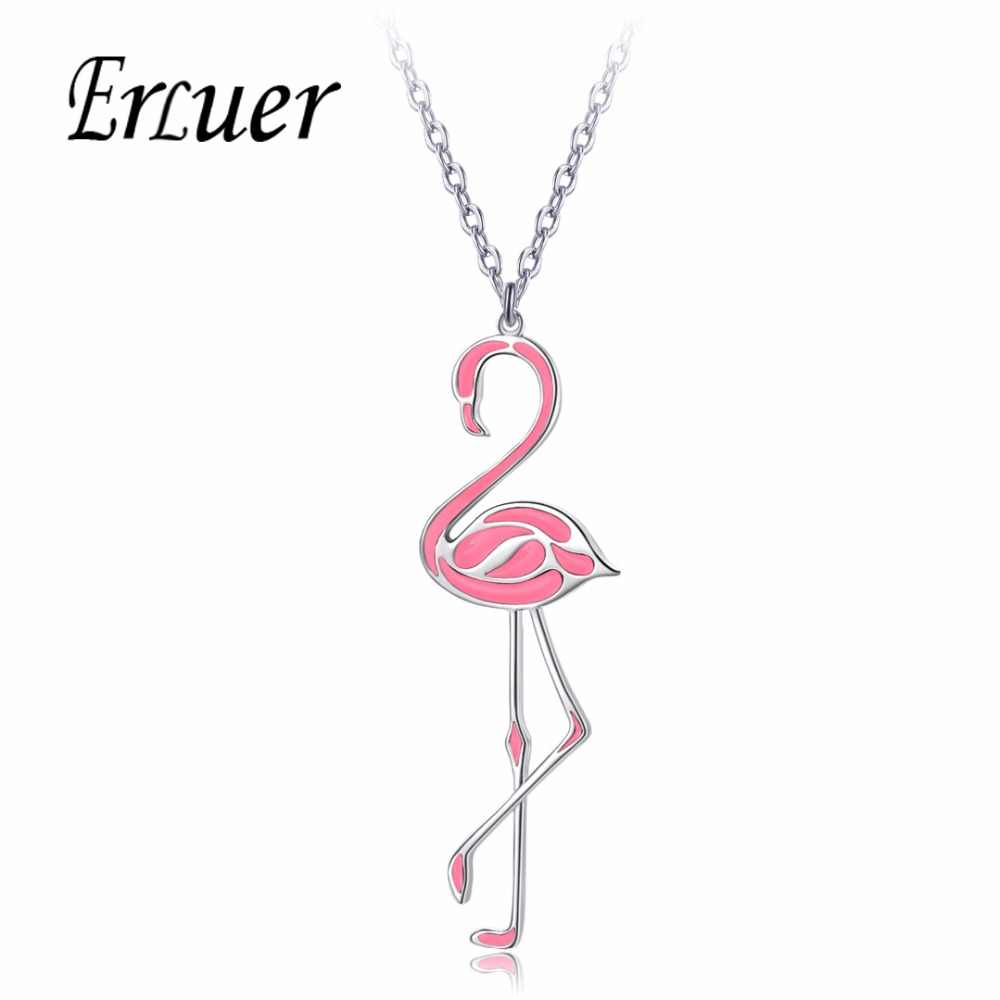 20c5b84a4 Detail Feedback Questions about ERLUER Fashion Jewelry New Pink Black  Flamingo Necklace For Women Cute Bird Animal Enamel Charming Long Pendant  Metal ...