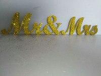 Livraison gratuite paillettes d'or m . mme Jin Seji signé bois PVC mot de mariage décorations chérie grande table