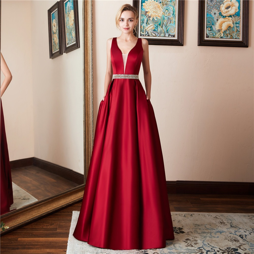 e3c0e99ebd3 2019 Elegant V-neck Open Back Satin Prom Dress 2019 Evening Dresses Vestido  De Festa