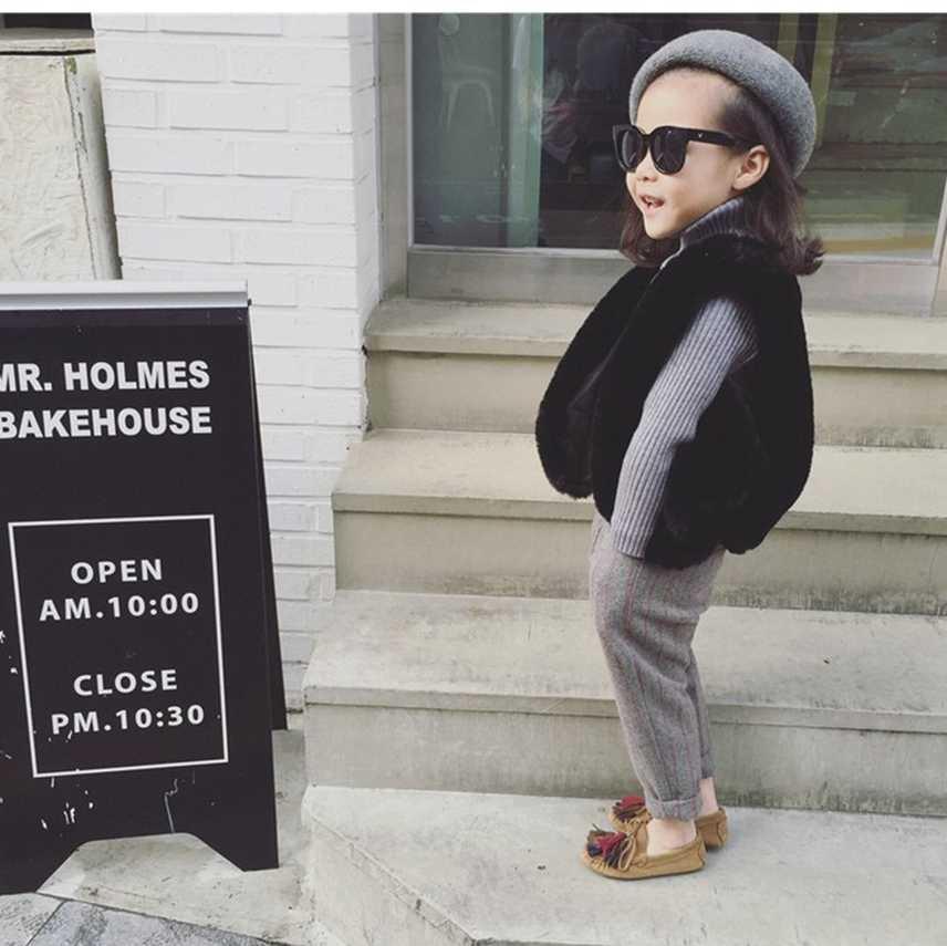 Детский меховой жилет новая одежда для девочек с кроличьим мехом детское пальто с имитацией меха лисы теплый жилет детская зимняя куртка с искусственным мехом