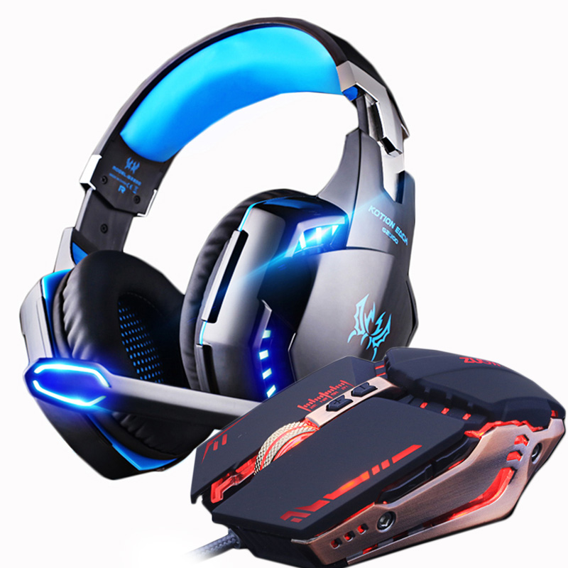 Gaming Headset and Gaming Mouse 4000 DPI Adjustable Stereo Gamer Headphones Earphone + Gamer Mice LED Light Wired USB for PC oneodio professional studio headphones dj stereo headphones studio monitor gaming headset 3 5mm 6 3mm cable for xiaomi phones pc