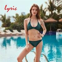 Lyric 2018 New Green Brazilian Bikini Set Triangle Top Thong Bottom Sexy Women S Swimming Suit