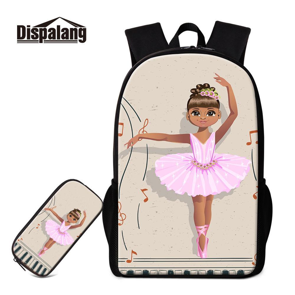 Dispalang Ballet 3D Print School Backpacks for Girls Lightweight Satchel Schoolbag Children Kids Shoulder Book Bag Pencil Case