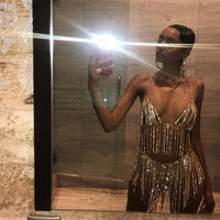 Sexy Rhinestone Metal Backless Halter Party Dress Gold Silver Night Club Mini Dresses Cut Out Lower Cut Outfits