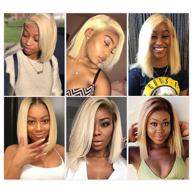 1B 613 Ombre Blonde Lace Front Human Hair Wigs For Black Women Brazilian Short Bob Straight Frontal Wigs pre plucked
