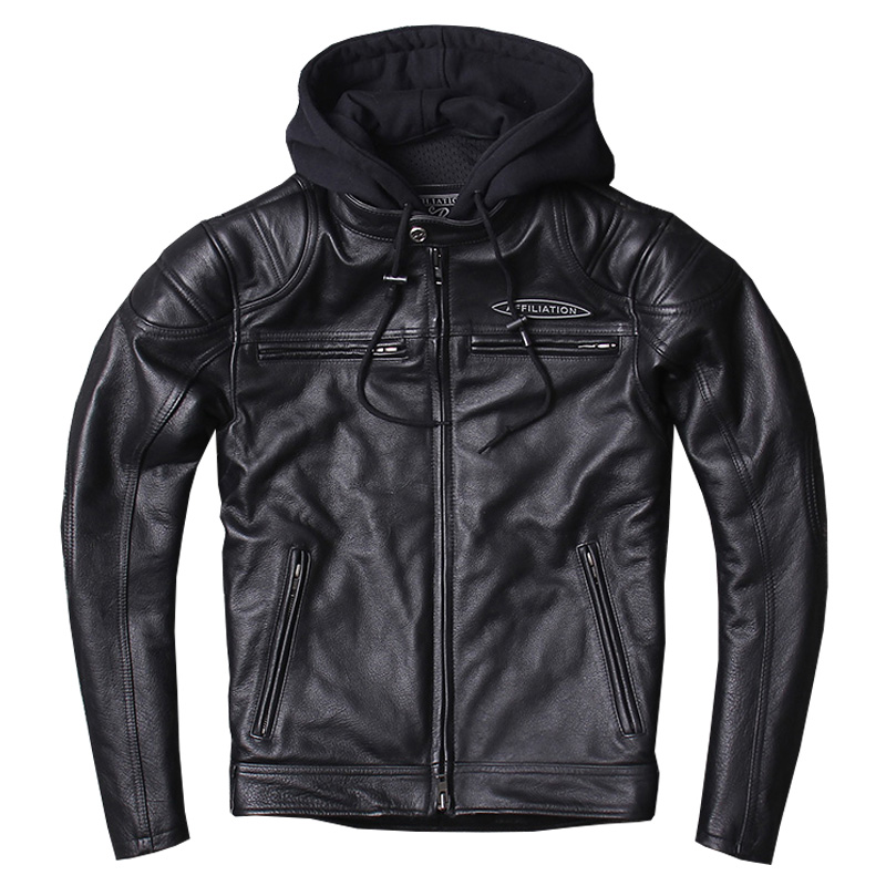 HARLEY DAMSON  Black Men Hood Motorcycle Leather Jacket Genuine Thick Cowhide Slim Fit Short Russian Biker's Leather Jacket