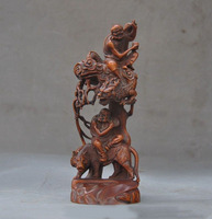 christmas old China Boxwood wood master carving Dragon Tiger Rohan lohan Arhat God Statue New Year