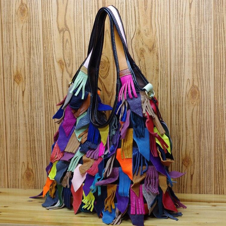 Femininas Colourful Femmes Véritable Messager Bandoulière En Vintage Sacs Gland À Bolsas Mode Main De Vache Cuir noir Dames D'embrayage AZTxdWqw