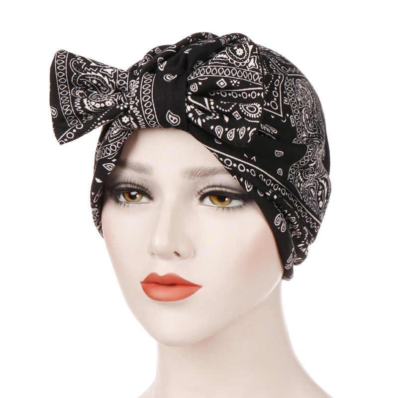 8b39ed602e4 ... Turban Hat Muslim Bonnet Womens Bowknot Hijab Scarf Headwear Cap Head  Wrap Chemo Beanies Hair Accessories ...