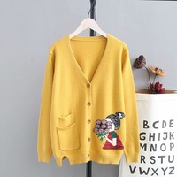 Plus size knitted wool women yellow & black & red Cardigan jacket 2018 spring autumn pockets ladies sweater female knitwear coat