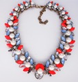 Hot Brand Gorgeous Neon Orange Crystal Bib Imitation Pearl Collar Choker Necklaces Women