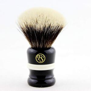 "Image 1 - ""Fs"" 24 Mm Fan Vorm Manchurian Finest Badger Scheerkwast Zwart & Wit Handvat + Gratis Stand + Gratis Verzending"
