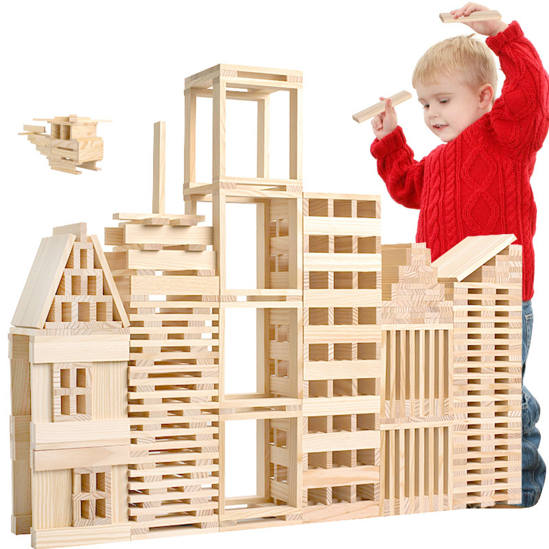 Baby Educational Toys 100Pcs Nature Wood Building Blocks Interactive Games Set Wooden Toys Deluxe Birthday Gift