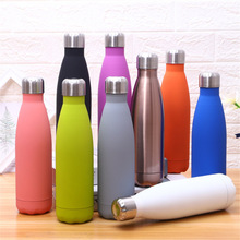 Solid Color Thermos 500ml Water Bottle Portable Stainless Steel Vacuum Flask Sport Insulated Drink Outdoors Travel Cup