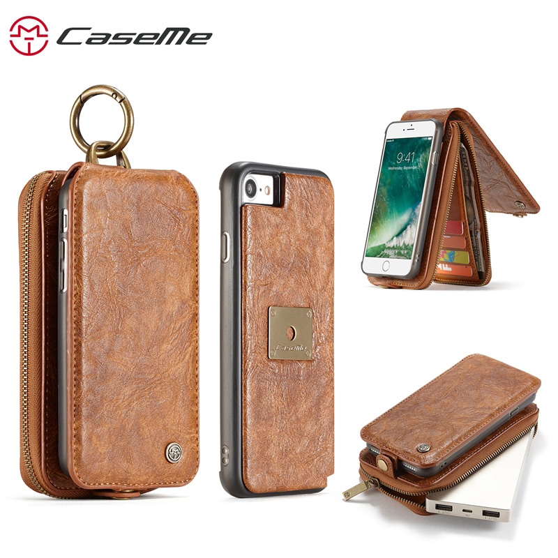 Business Case For Apple iPhone 7 Case Luxury PU Leahter Wallet Zipper Card Holders Cover for iPhone 7 8 Plus Case iPhone X Coque