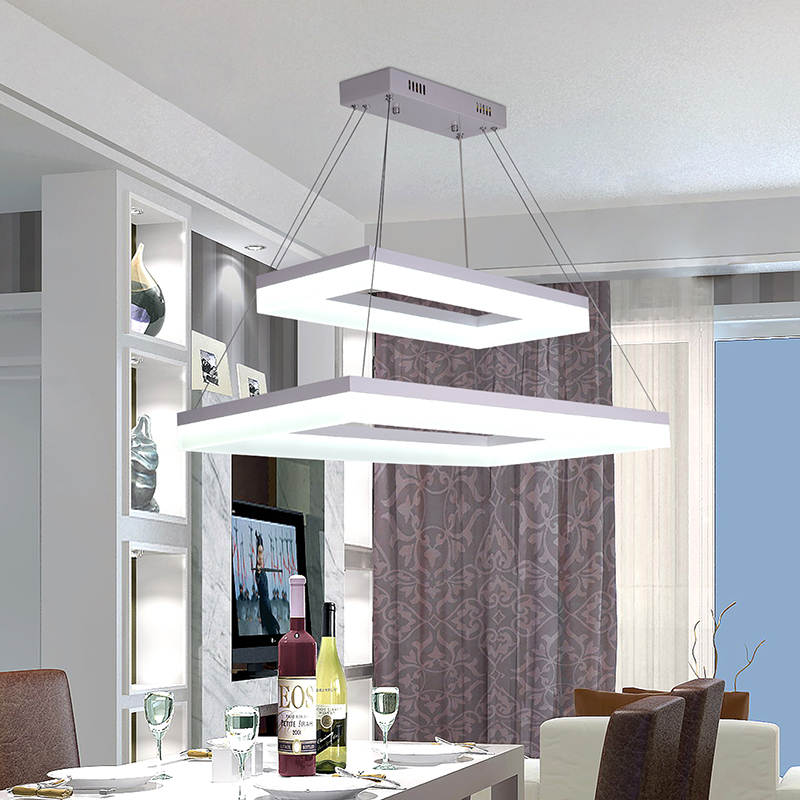 simple modern restaurant chandelier led square fishing line personality chandelier creative chandelier height adjustable