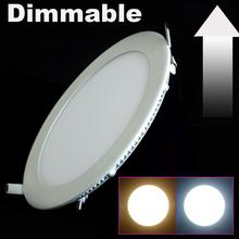 DHL Free Shipping 10pcs/lot Dimmable Led Panel ceiling Light 3W 4W 6W 9W 12W 15W 25W With Adapter AC110-220V Ulthra thin