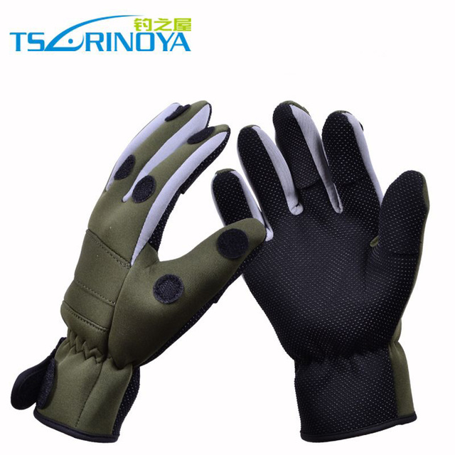 Best Offers Trulinoya Waterproof Anti-Slip Breathable Fishing Gloves Army Green Color Outdoor Gloves Fishing Accessory