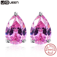 Pink Topaz Earring Stick Fashion Water Drop Stone Stud Earring Piercing 925 Sterling Silver Jewelry Wholesale