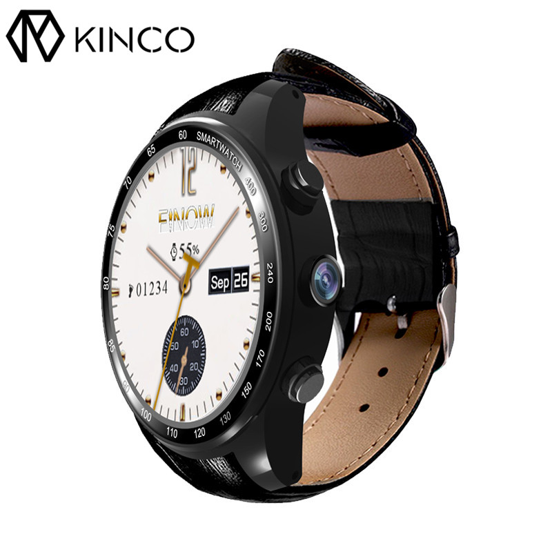 KINCO Android 5.1 Heart Rate Sleep Monitor Waterproof Pedometer Speaker GPS Camera 3G Wifi Bluetooth SmartWatch For iOS Android kinco mt6572a 512m 4g gps ips 1 3 inch android 4 4 smart phone watch heart rate monitor steps anti lost bracelet for ios android