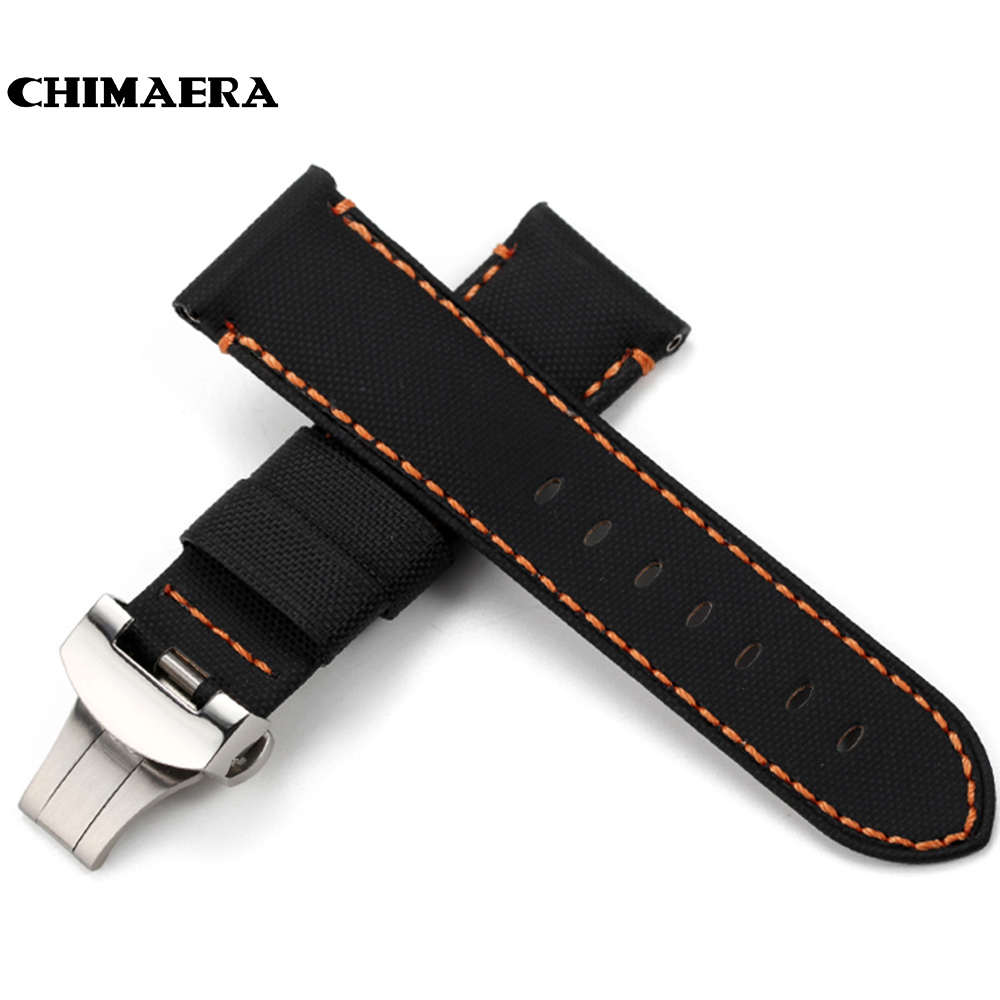 CHIMAERA 24mm Farbic+Leather Watchband For PAM Balck Vintage New fashion Watch Band Deployment buckle Watch Strap For Panerai-in Watchbands from Watches