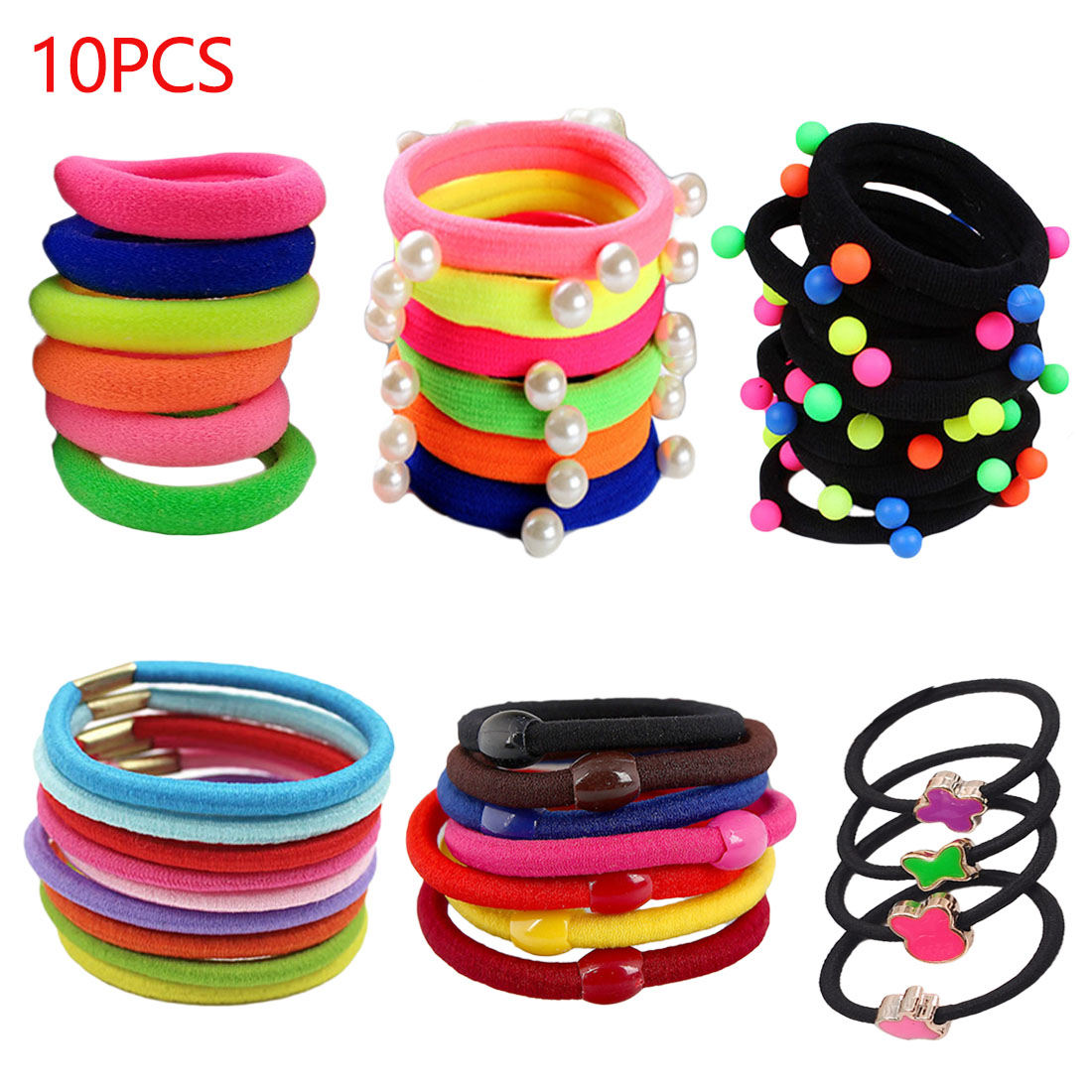 Colorful 10pcs/lot Elastic HairBands Seamless Tie Gum Maker Ponytail Holder Ropes Rings Headband Hair Accessories for Girls Kids akwzmly 20 pcs girls headband flower hair elastic bands scrunchy ponytail holder accessories bow animals pattern ropes ties