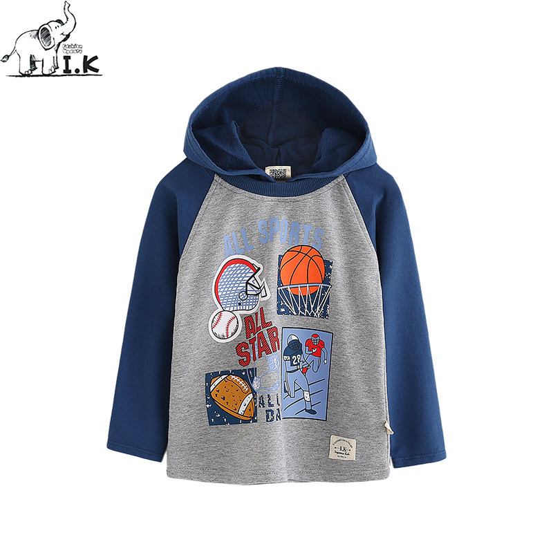 I.K Spring Autumn new baby boys warm sweatshirts cotton basketball long sleeve sport coat cute baby children hoodies WY26011