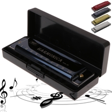 10 Holes Key of C Blues Harmonica Musical Instrument Educational Toy with Case flute intermediate concert nickel silver band with pads musical instrument c key toy musical instrument