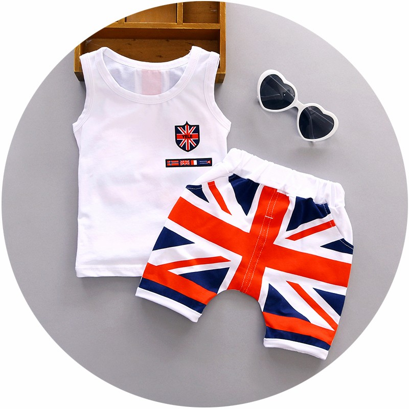2018 Baby Boy Clothes Summer High quality cotton baby clothing set 2pc for 1 2 3 years old boys vest suit