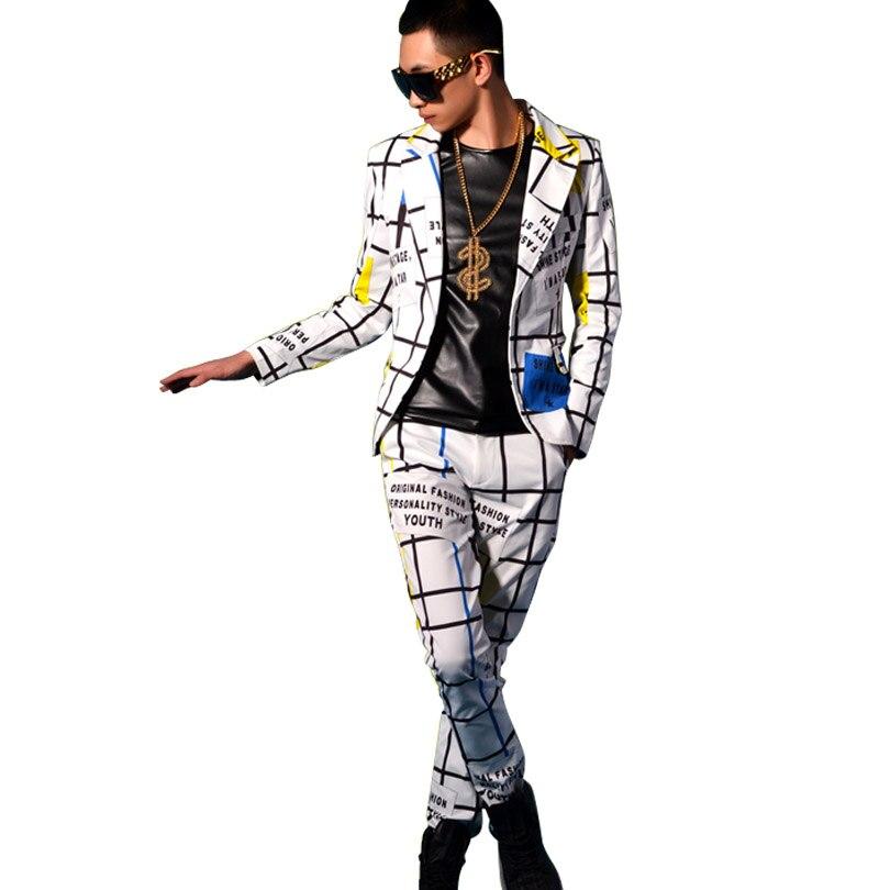 Bühne Zeigen Nach Kostüme Männlichen Linie Gitter Slim Fit Anzug Sets (jacke + hose) männer Fashion Casual Blazer Jacke Hose-in Blazer aus Herrenbekleidung bei AliExpress - 11.11_Doppel-11Tag der Singles 1