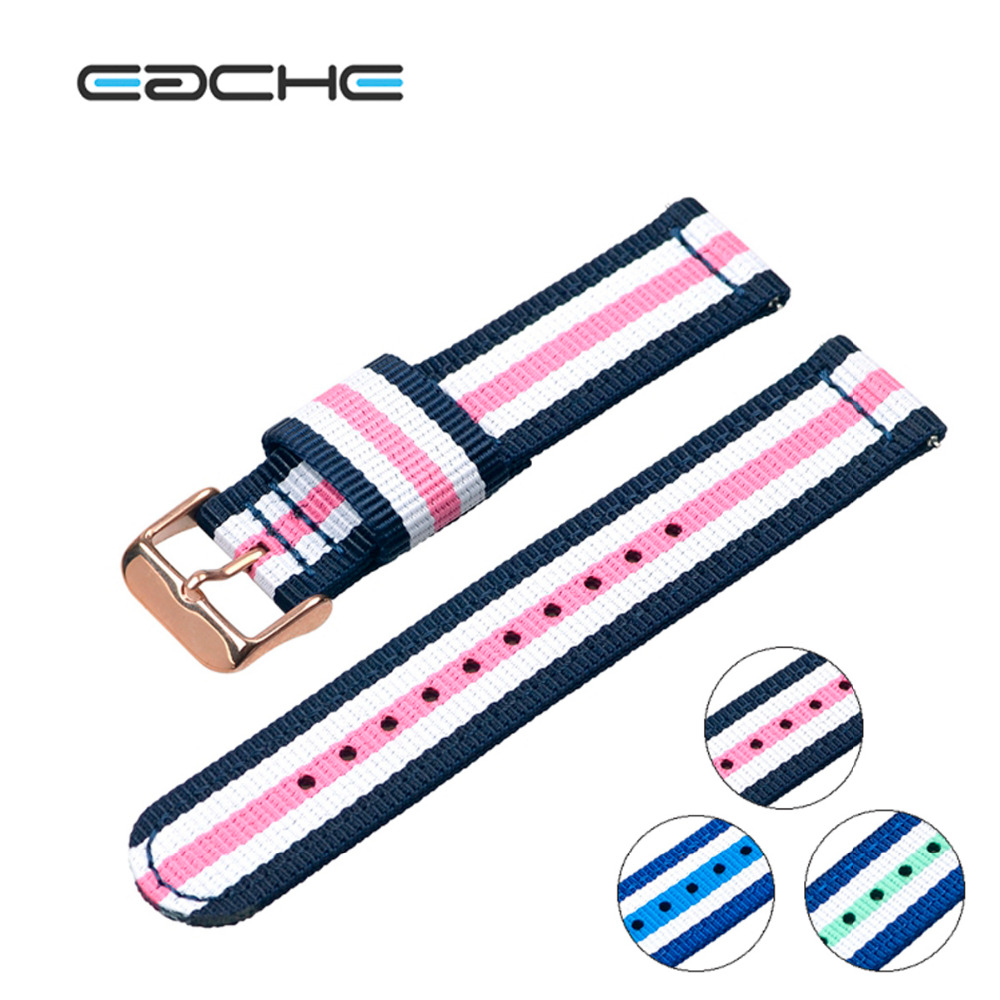 US $6 6 22% OFF|EACHE Two Parts Nylon Watch Straps Quick Release Spring Bar  Watch Bnads 20mm With Stainless Steel Silver Buckles In Stock-in
