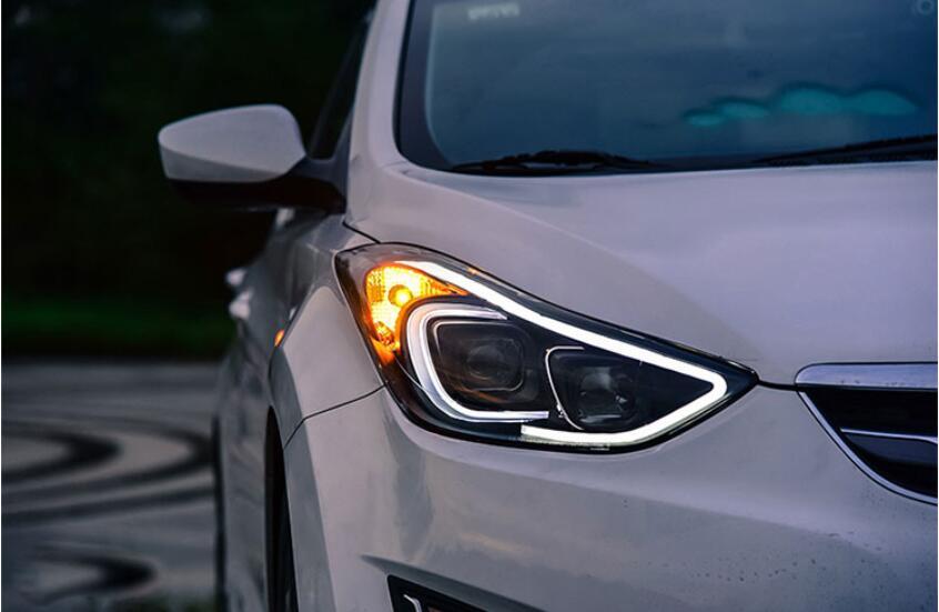 2pcs Car Head Light For Elantra Headlights Avante MD 2012 2013 2014 2015year Elantra Taillight LED DRL HI LO HID Xenon