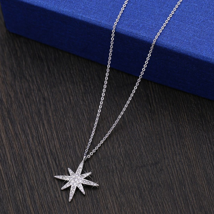 цена на 2018 Best Quality Wedding Anise star necklace 925 silver Original Crystals From Swarovski Elegant clavicle with accessories
