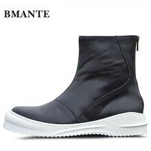 Брендовая модная мужская повседневная обувь с высоким берцем из натуральной кожи; высокие ботинки на толстой подошве в стиле Харадзюку; ботинки на плоской подошве для взрослых мужчин