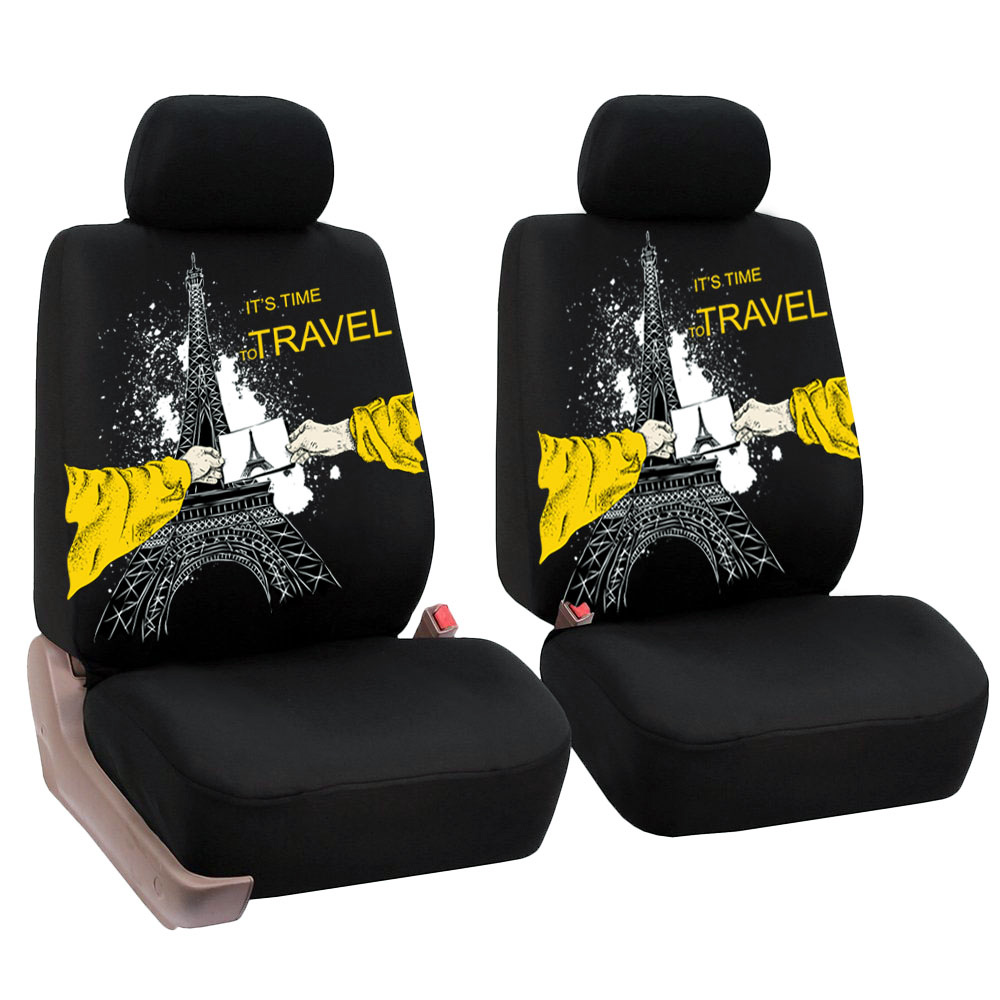 4Pcs Front Car Seat Cover Protector Cozy With The Eiffel Tower Pattern Printing Automotive Interior Accessories Universal In Automobiles Covers
