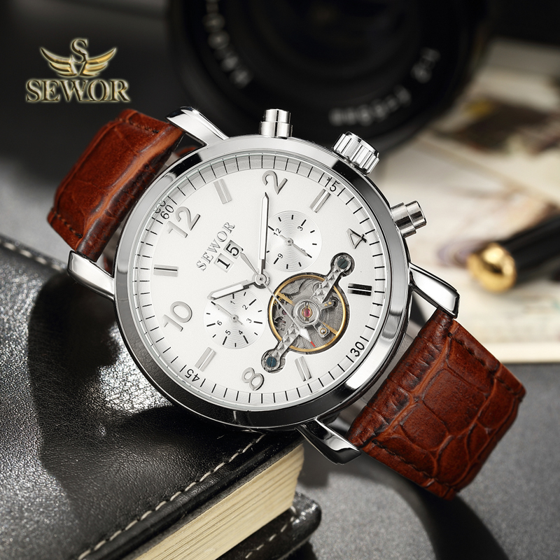 SEWOR Luxury Brand 2018 New Fashion Brown Leather Watch Band Tourbillon Automatic Mechanical Men Sport Wrist Watch Silver C392 все цены