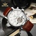 SEWOR Luxus Marke Mens 2019 Neue Mode Braun Leder Band Tourbillon Mechanische Automatische Uhr Männer Sport Armbanduhr C392-in Mechanische Uhren aus Uhren bei
