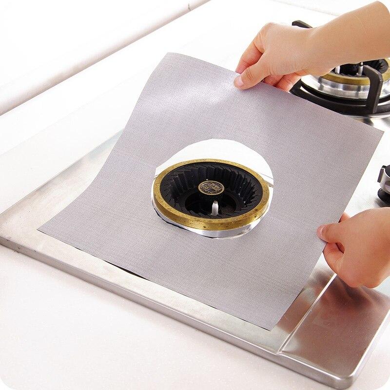 4 шт./компл. газовая плита Плита защитные крышки/вкладыш очистить коврик Одиночная газовая горелка плита протектор Кухня аксессуары - Цвет: silver