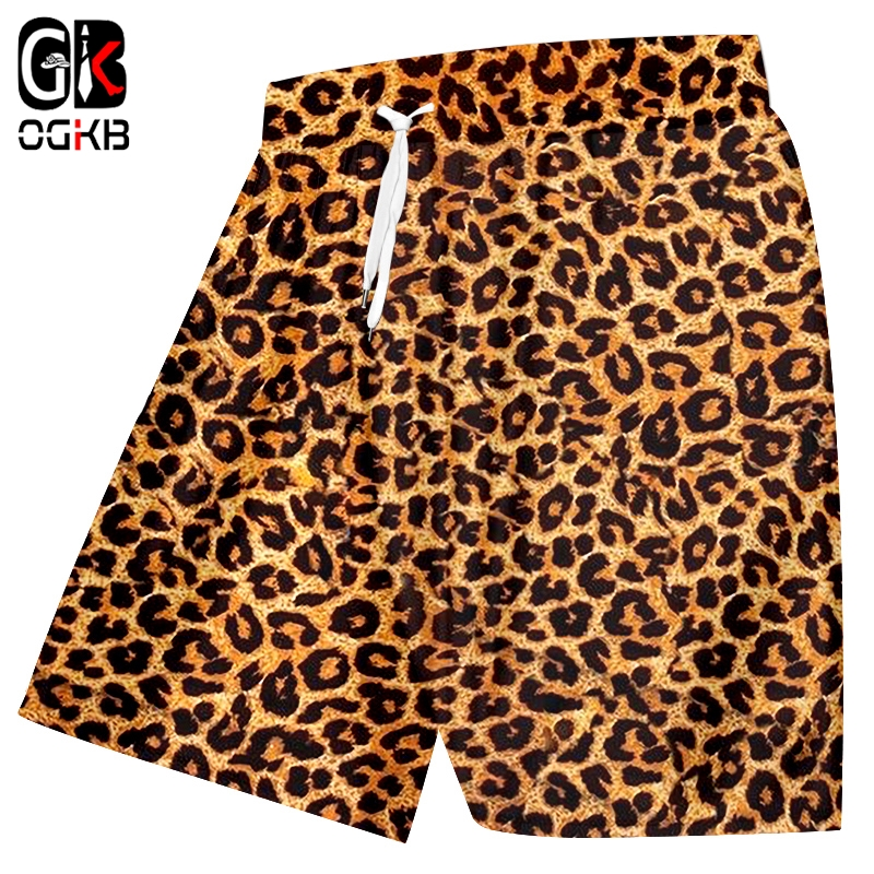 OGKB Casual Shorts Homme New Gyms Animal 3D Print Leopard Harajuku Big Size Beach Shorts Homme Summer Short Trousers Wholesale