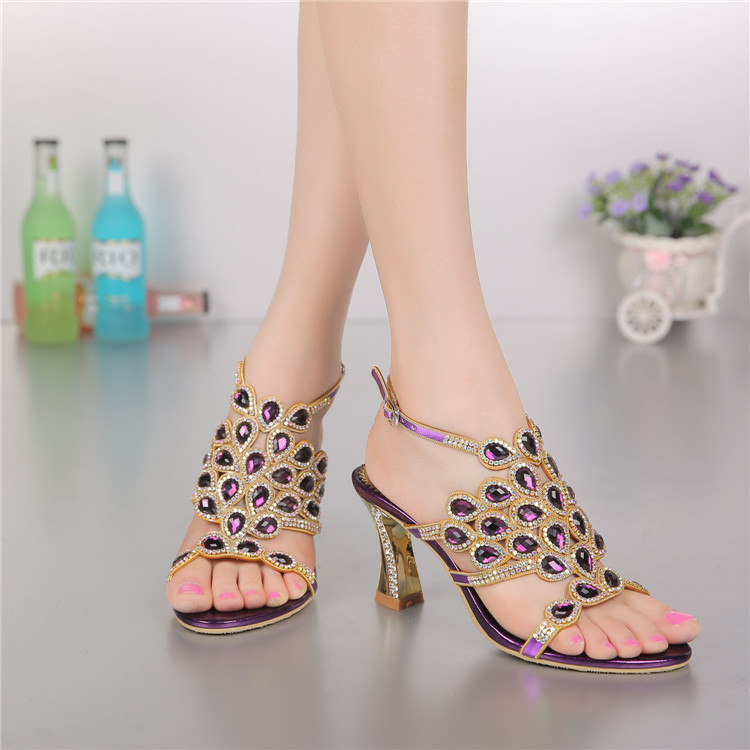 ФОТО Women Sandals Shoes 2016 Brand Fashion Women Genuine Leather Party Dance Shoes Sandals for Ladies Crystal Sandals Women GS-L003