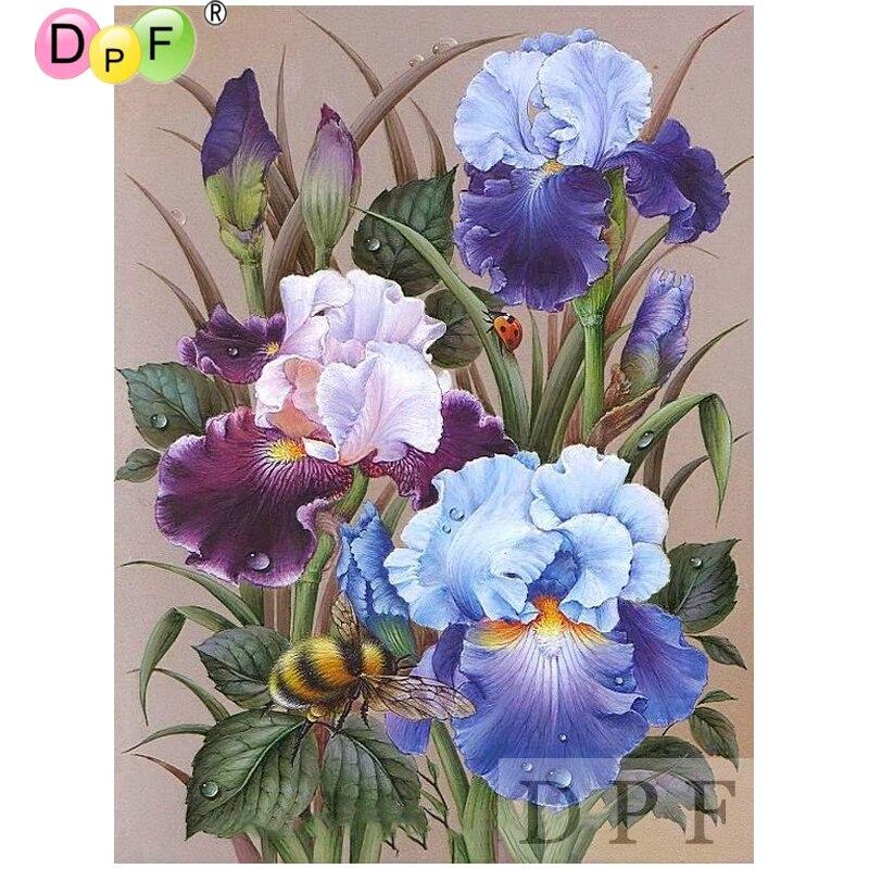 DPF diamond embroidery Flowers bees diamond painting cross stitch crafts diamond mosaic kit full square rhinestone home decor