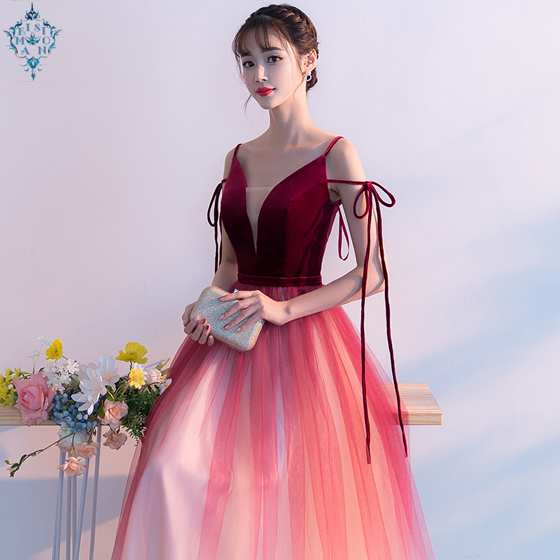 Ameision Spaghetti Strap Off shoulder Slim Evening Dress Velour Tulle Party Elegant long sexy dresses evening