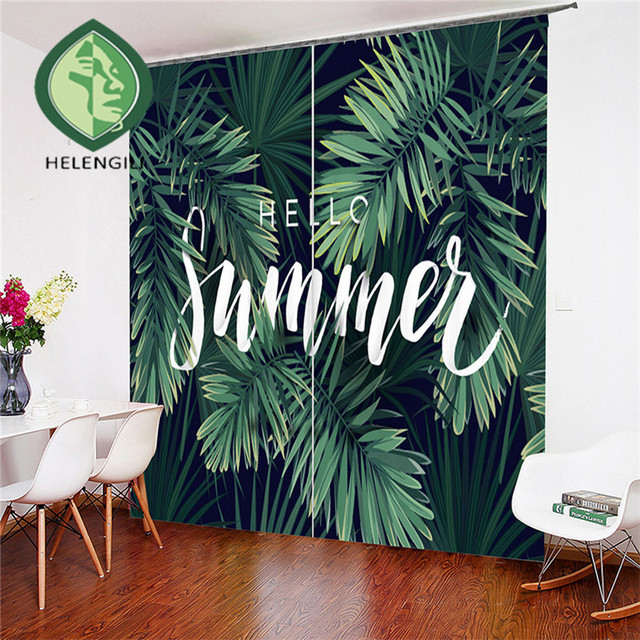 HELENGILI 3D Window Curtain Tropical Plants Print for Living Room Bedding Room Home Decor Tapestry Wall Carpet Drapes Cotinas
