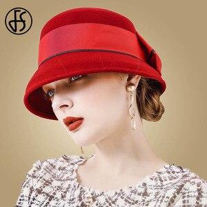 Image 2 - Fedora de fieltro de lana Vintage para mujer, sombrero de Lazo Rojo, con diseño Floral, ala ancha, Bowler, elegante, para invierno, para iglesia, FS